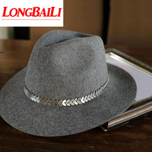 цена на High Quality Metal Chain Wide Brim Wool Fedoras For Women Winter Fashion Felt Hats Grey Free Shipping PWFE-060