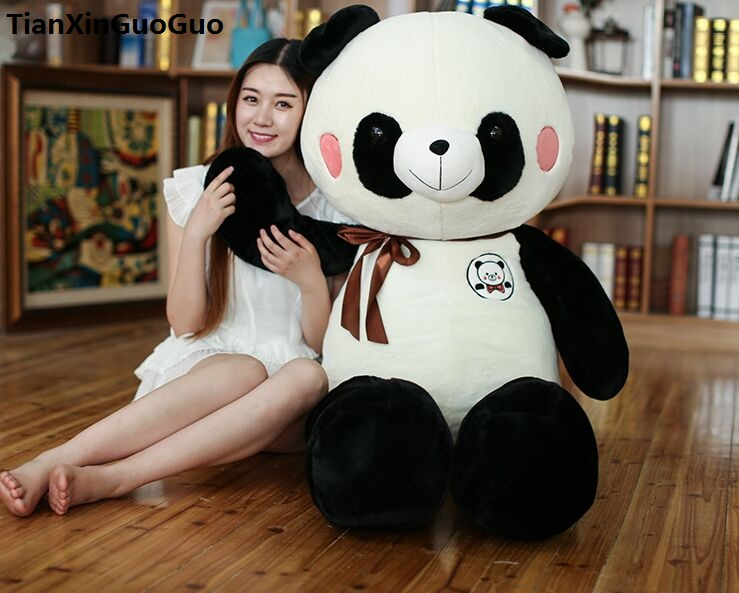 new style huge 120cm gaint panda plush toy soft doll throw pillow birthday gift s0754 cartoon glasses panda in yellow cloth large 70cm plush toy panda doll soft pillow christmas birthday gift x031