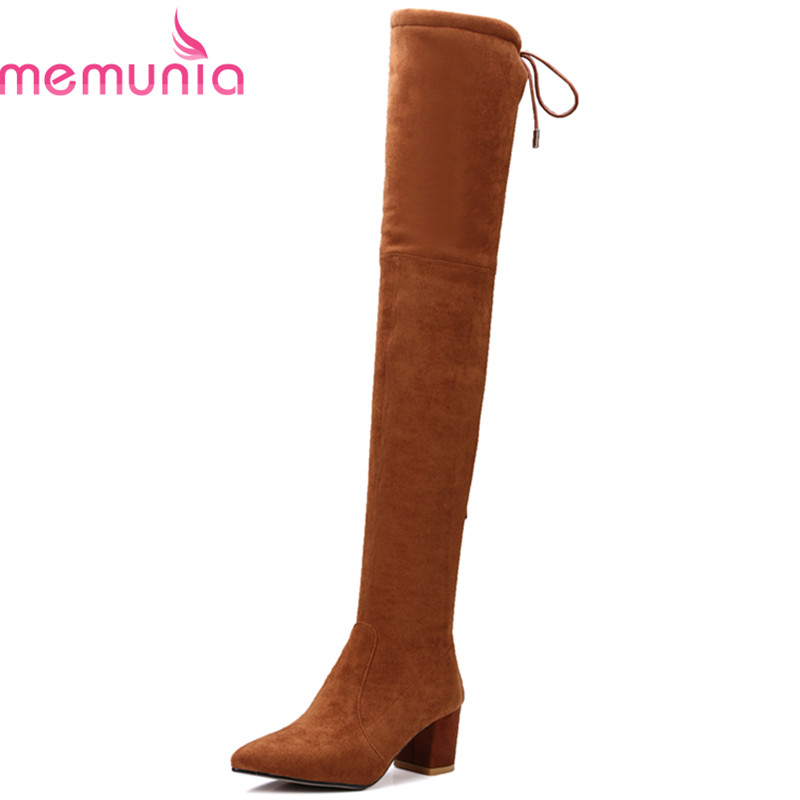 ФОТО MEMUNIA Genuine leather flock boots for women in autumn boots solid zip office lady high heels boots over the knee boots elegant