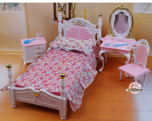 Image 3 - Genuine furniture bedroom for barbie princess bed doll accessories 1/6 bjd doll house mini dresser cupboard set child toy gift