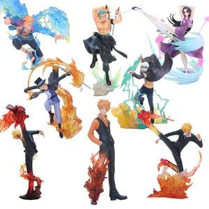 Anime One Piece Figure Shanks Sanji Figure Sabo Boa Hancock Trafalgar Law one piece Marco Battle Ver. PVC Model Christmas Gifts(China)