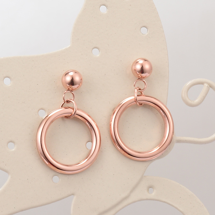 2018 new Stainless steel circle drop earrings for women accessaries, pink gold earrings female pendientes jewelry brincos gifts