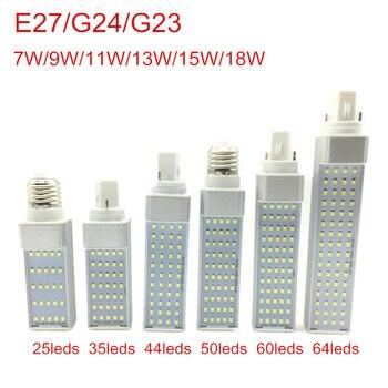 G24 Светодиодные лампы 7 Вт 9 Вт 11 Вт 13 Вт 15 Вт 18 Вт E27 светодиодная лампа SMD 2835 прожектор 180 градусов AC85-265V горизонтальная вилка