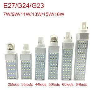 Image 1 - Светодиодный светильник G24, 7 Вт, 9 Вт, 11 Вт, 13 Вт, 15 Вт, 18 Вт, E27, SMD 2835, точечный светильник с углом обзора 180 градусов, горизонтальный штекер, светильник