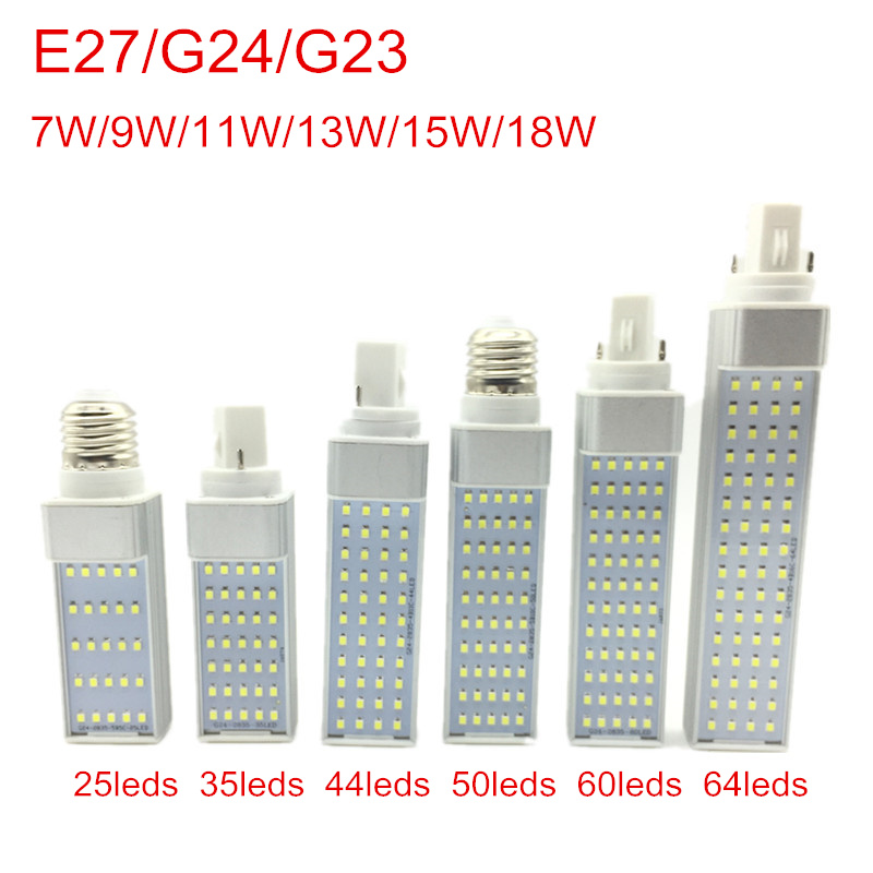 G24 LED Bulbs 7W 9W 11W 13W 15W 18W E27 LED Corn Bulb Lamp Light SMD 2835 Spotlight 180 Degree AC85-265V Horizontal Plug Light