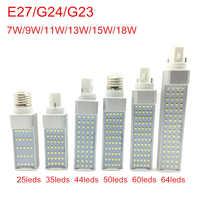 G24 bombillas LED 7W 9W 11W 13W 15W 18W E27 llevó la lámpara del bulbo del maíz luz SMD 2835 foco 180 grados AC85-265V Luz de enchufe Horizontal