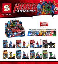 New Coming 8pcs SY293 Super Heroes Avengers Crystal Minifigure Iron Man Hulk Batman Superman Spiderman Building Blocks Bricks