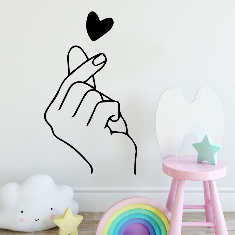 2019 Hot Sale finger heart Wall Sticker Home Decoration Accessories For Baby's Rooms Room Decor Wallstickers