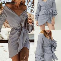Puff Sleeve Blue White Stripe Blouse Shirts Ruffles Women Sexy One Shoulder Autumn Fashion Bow Tie