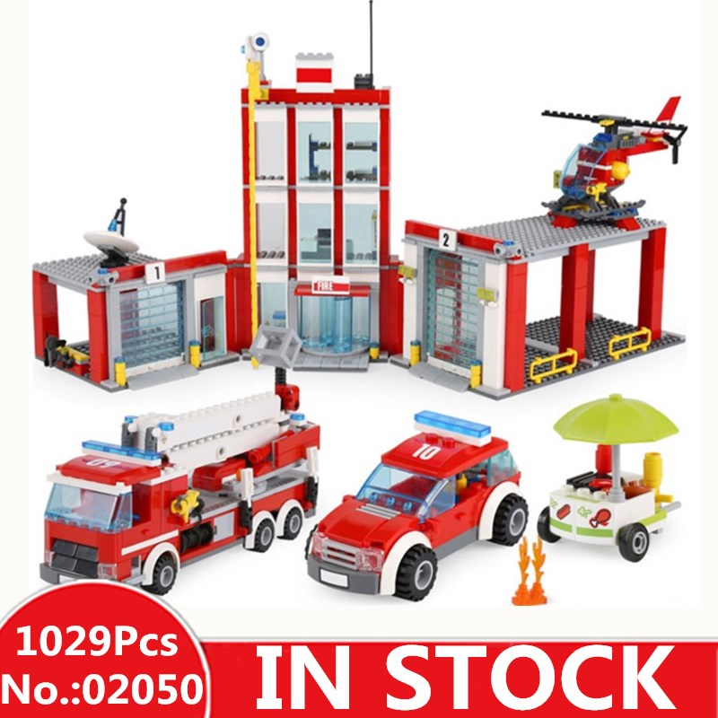 IN STOCK H&HXY 02052 Genuine City Series 1029Pcs The Fire Station Set 60110 LEPIN Building Blocks Bricks Educational Toys lepin 02052 genuine city series the fire station set legoing 60110 building blocks bricks educational toys as christmas gift