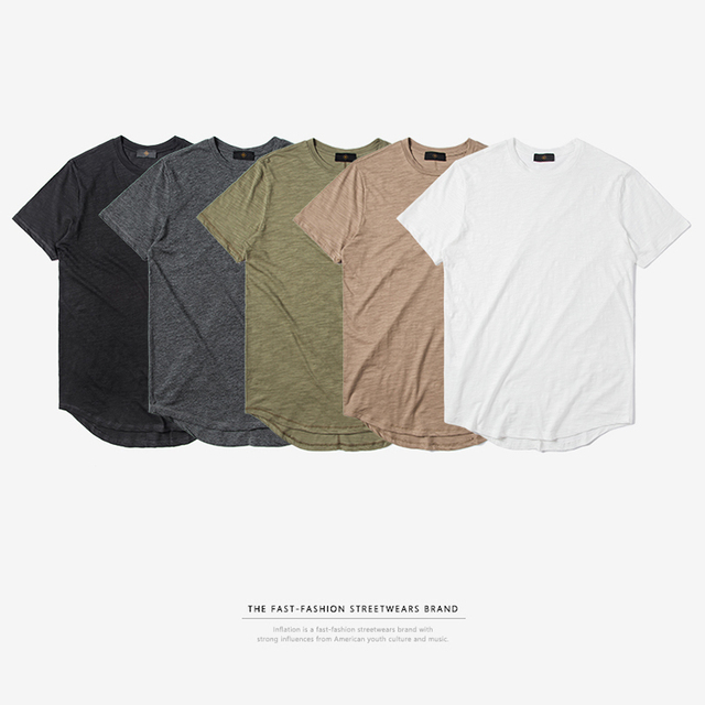 INFLATION Men's Solid Extended Elongated Plain T Shirt Bamboo Cotton Top Tee Hight Street Dress T-shirt 0118S17