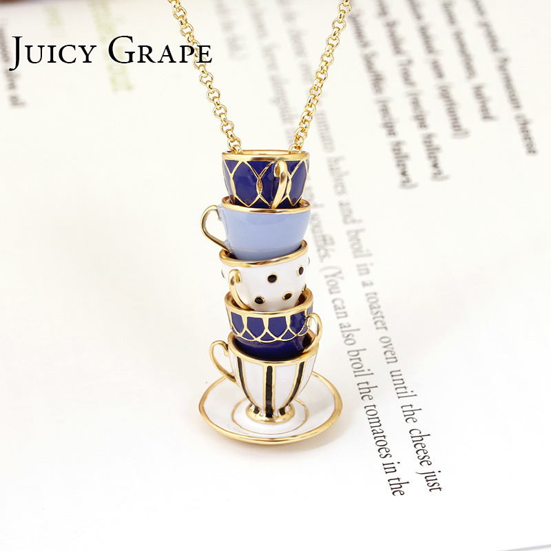 Juicy Grape Hand Painted Enamel Necklace Jewelry Teacup Pendant Long Chain Choker Necklace Bijoux Femme Bijuteria Women-in Pendant Necklaces from Jewelry & Accessories
