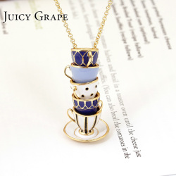 Juicy Grape hand painted enamel necklace jewelry Teacup Pendant Long Chain Choker Necklace Bijoux Femme Bijuteria Women