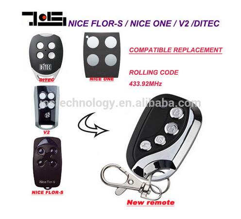 V2, Ditec GOL4, Nice Flors, Nice One Replacement Remote Control duplicator Fob 433.92 MHz rolling code