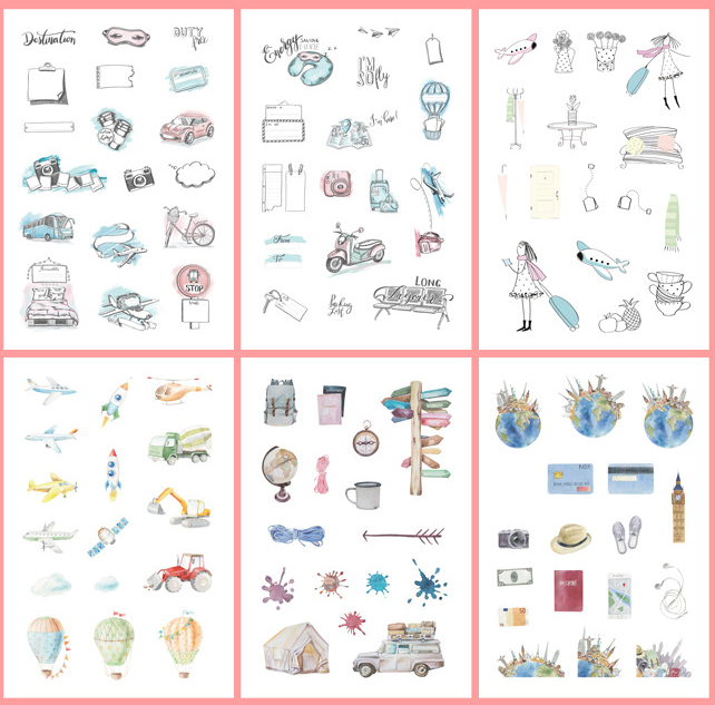 6 Pcs/pack On The Way Girl Plane Bullet Journal Decorative Stickers Scrapbooking Stick Label Diary Stationery Album Stickers