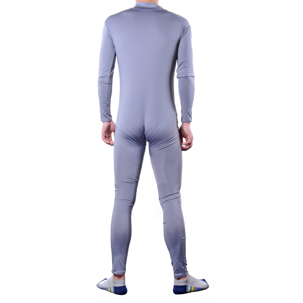 Adult men gay fetish erotic costume zipper jumpsuit spandex underwear halloween
