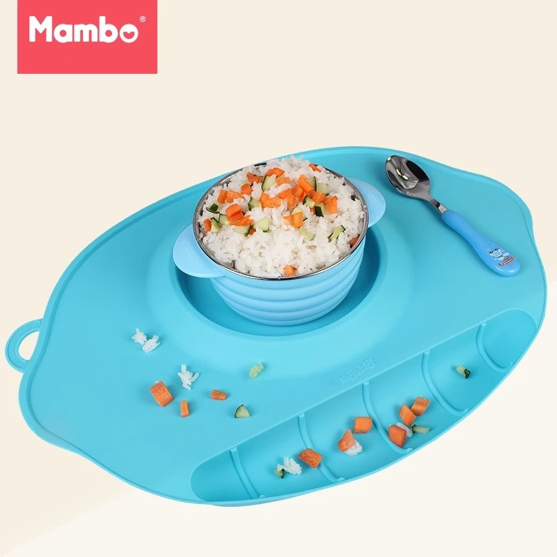 Mambobaby Baby Kid Dishes Bowl Infant Toddler Feeding Plate Tray Food Dish Children Tableware Silicone Suction training Placemat freeshipping ink wash paint bird цветочная теплоизоляция обеденный стол mat placemat диски bowl coasters водонепроницаемый скользкий мат