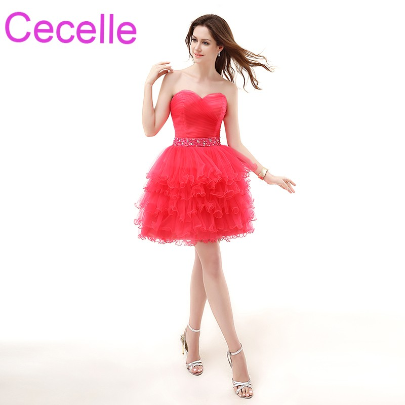 Coral Short Cocktail Dresses 2018 Simple Tulle Ruched Tiered Juniors