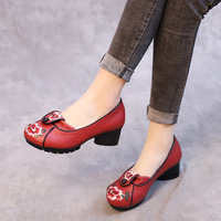 AARDIMI Embroider Women Pumps Genuine Leather Shallow Female High Heels Shoe High Heeled Women's High Heeled Platform Shoes