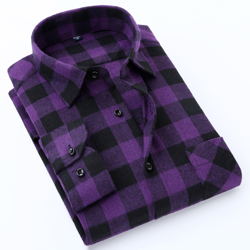 Mens Standard fit Check Plaid Soft brushed Shirt Patch Chest Pocket Comfortable Casual Checkered Work Tops Long SLeeve ShirtsCasual Shirts   -