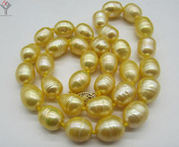 wedding Women Jewelry Necklace 10 11mm Light Gold Color Pearl Oval round Natural Freshwater Pearl Choker Necklace
