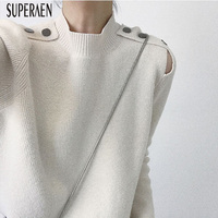 SuperAen Europe Fashion Women Pullovers Sweater Wild Loose Round Neck Ladies Sweater Solid Color Tops New Autumn and Winter 2018