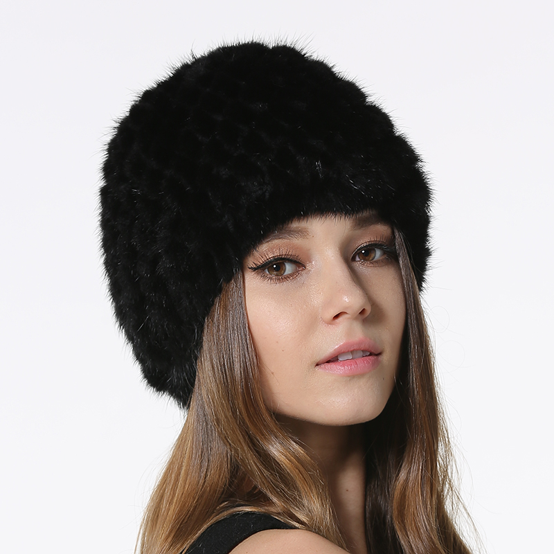 IANLAN Winter Mink Fur Hats for Women Real Knitted Fur   Skullies     Beanies   Ladies Striped Fur Caps with Knitting Lining IL00032
