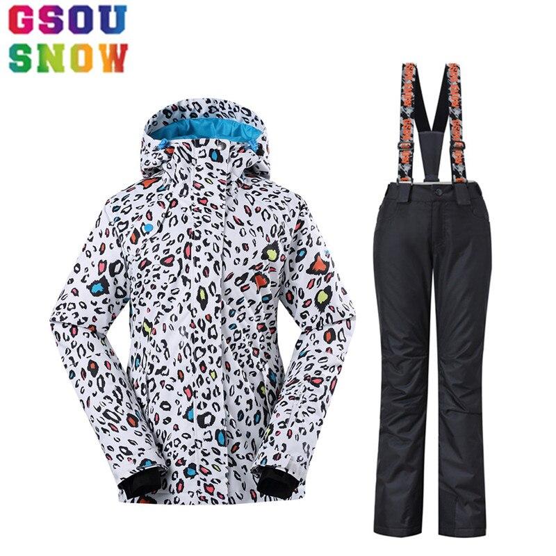 GSOU NEIGE Marque Ski Veste + Pantalon Femmes combinaison de Ski D'hiver Imperméable Respirant Sport En Plein Air Vêtements de Ski Snowboard Manteau