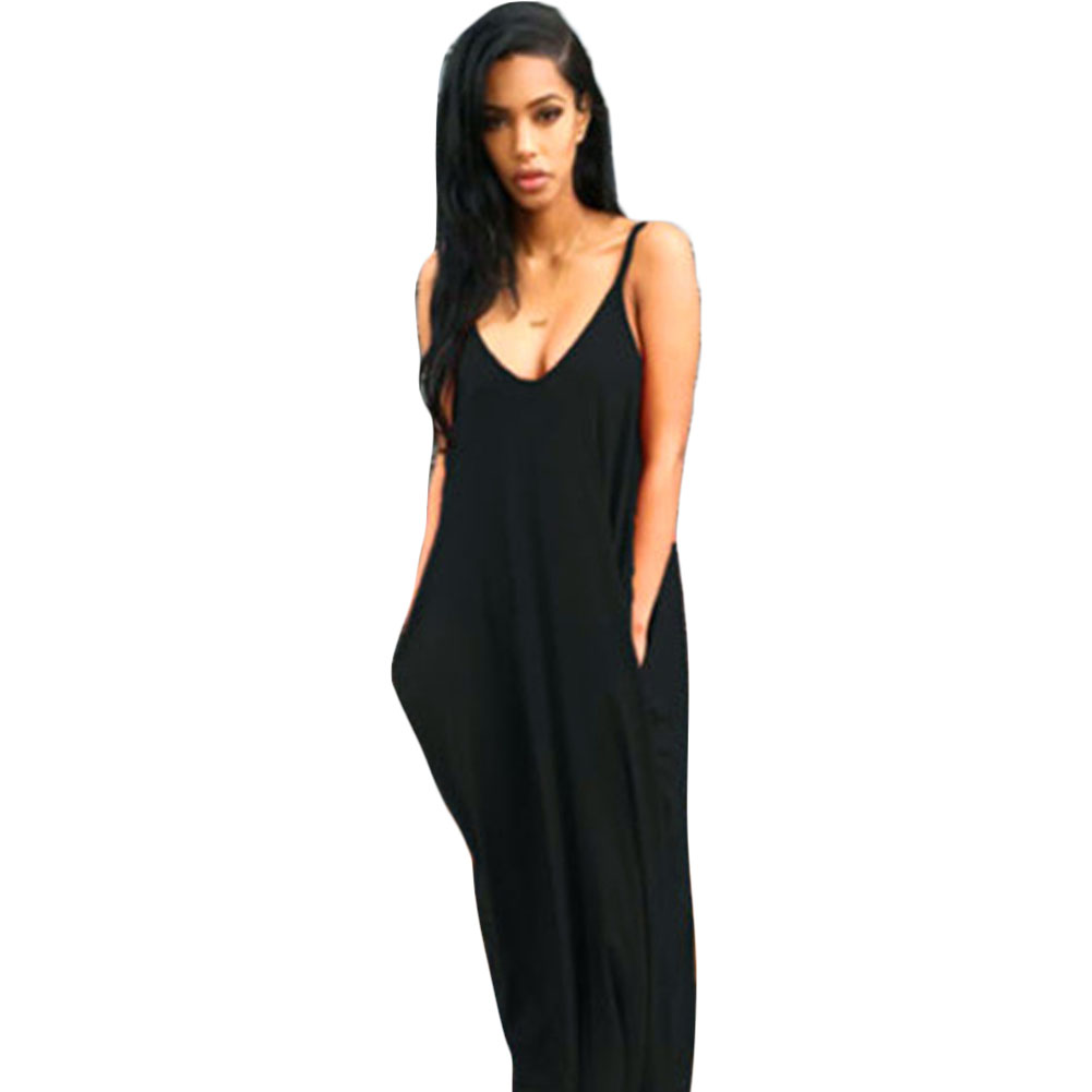 Sling White Orange V Neck Pocket Big Swing Accessory Cute Loose Maxi Dresses Beauty New Usable Design