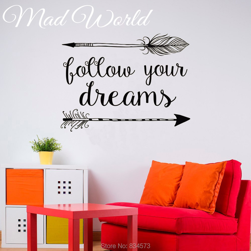 Mad World Arrow Follow Your Dreams Quote Wall Art Stickers Art Home Decoration Wall Decal Removable