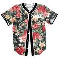 Camisas dos homens Camisa impressão FLORES 3d Streetwear FATOS camisa do basebol DO PUNK tops com Único Breasted verão