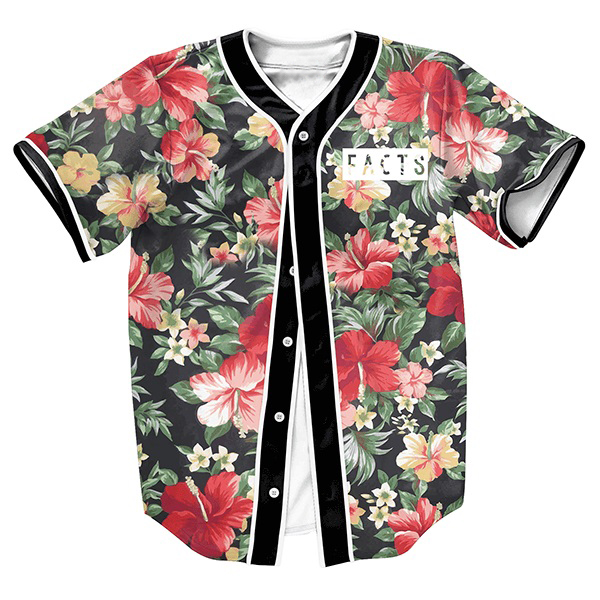 Men s shirts FACTS Jersey FLOWERS 3d print Streetwear PUNK tops with Single Breasted summer baseball