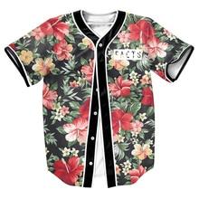 Männer shirts FAKTEN Jersey BLUMEN 3d print Street PUNK tops mit Einreiher sommer baseball-shirt