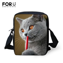 FORUDESIGNS Black Kawaii Cats Prints Women Messenger Bags Crossbody for Cute Purse Small Phone Coin Handbags