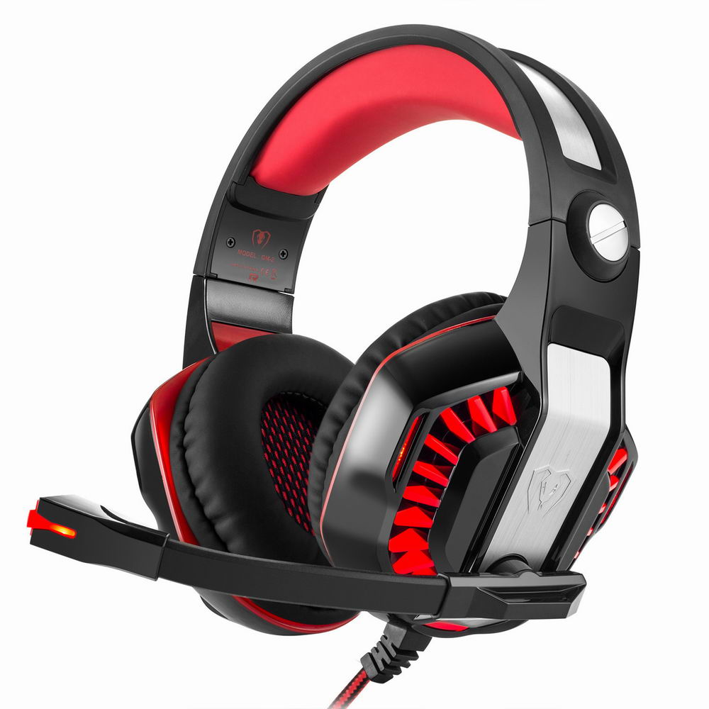 GM-2 Gaming Headset Over-ear Stereo 2.1m Cable LED Light Bass Headphones with Mic for Game Tablet PS4 Xbox one