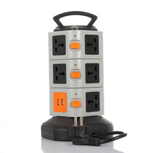 New Electrical Plugs Sockets Power Strip EU/ US UK Plug 2 USB+11 Outlet Standard Wall Socket Extension Cable Cord Plugs цена 2017