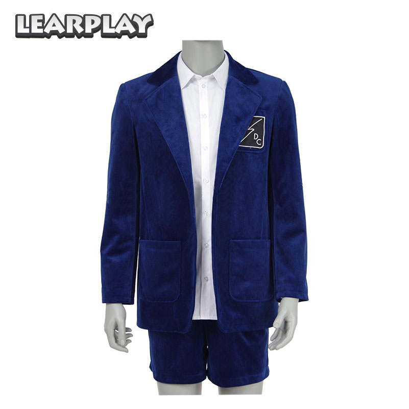 Band AC DC Angus Young School Boy Uniform Cosplay Costume Blue Jacket Coat Short Pants White