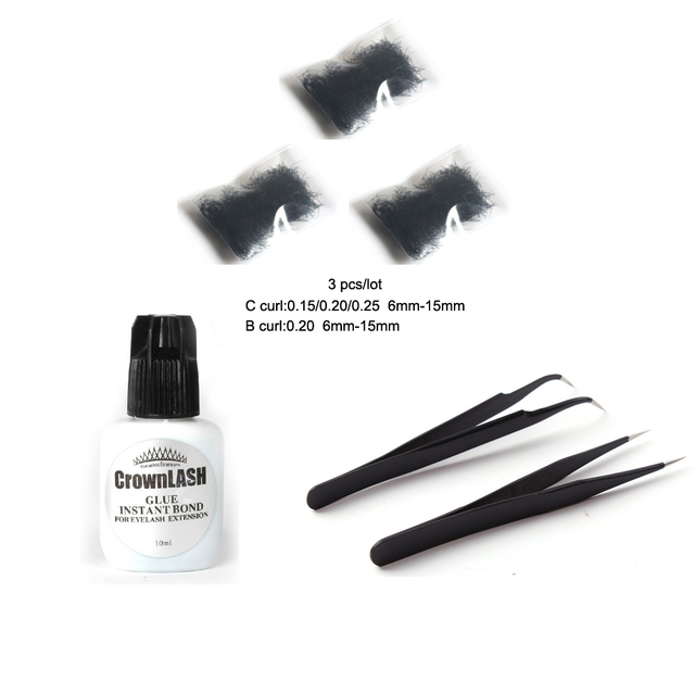 3 Items Professional Eyelash Extension Kit 10mlbottle Eyelash Crown