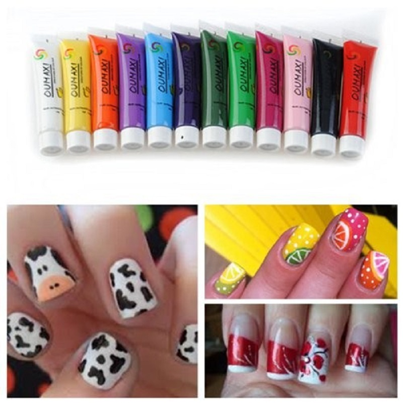 12 pcs Colors Pro Acrylic Paint Nail Art Design 3D Painting Pigment Gel Tips Tube Set