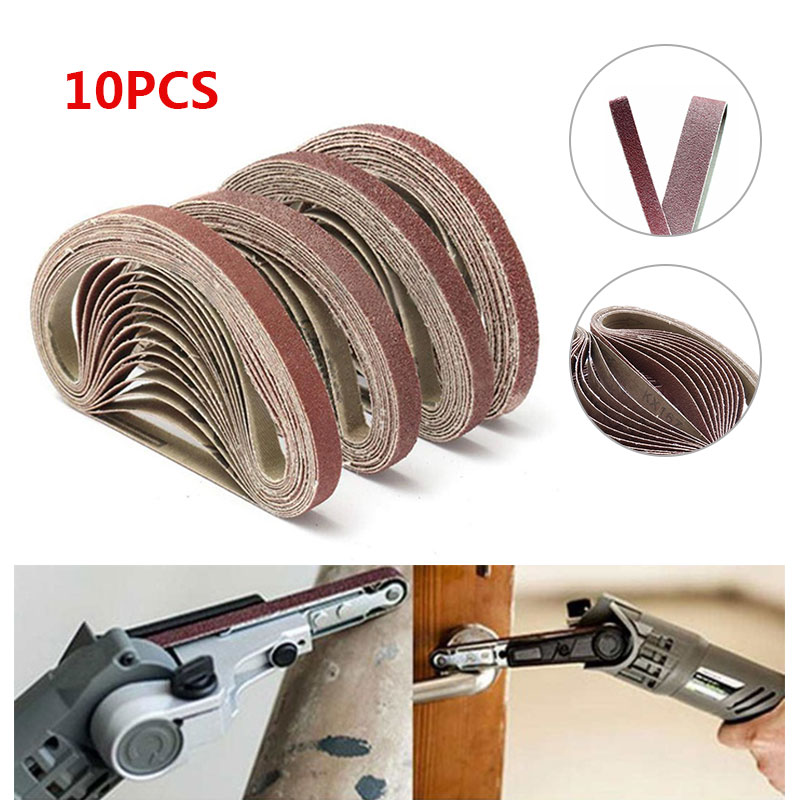 10pcs 40/60/80/120 Grits Grinding Polishing Replacement Sanding Belt Grit Paper For Angle Grinder Machine 330 X 10mm