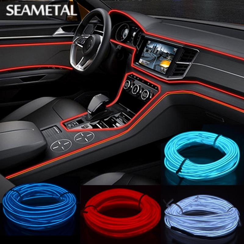 3 5m 12v car interior led refit lights flexible neon el wire with cigarette lighter drive. Black Bedroom Furniture Sets. Home Design Ideas