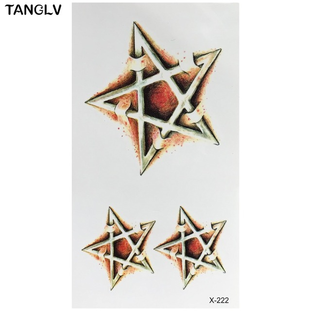 New Fashion Simulation Tattoo Men And Women Waterproof Fake Sticker 3D Five Pointed Star