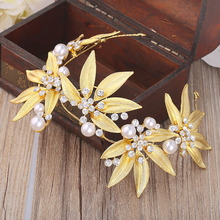2016 Luxury golden leaves headbands inlaid rhinestone pearl headwear women wedding hair accessories bridal tiaras hair