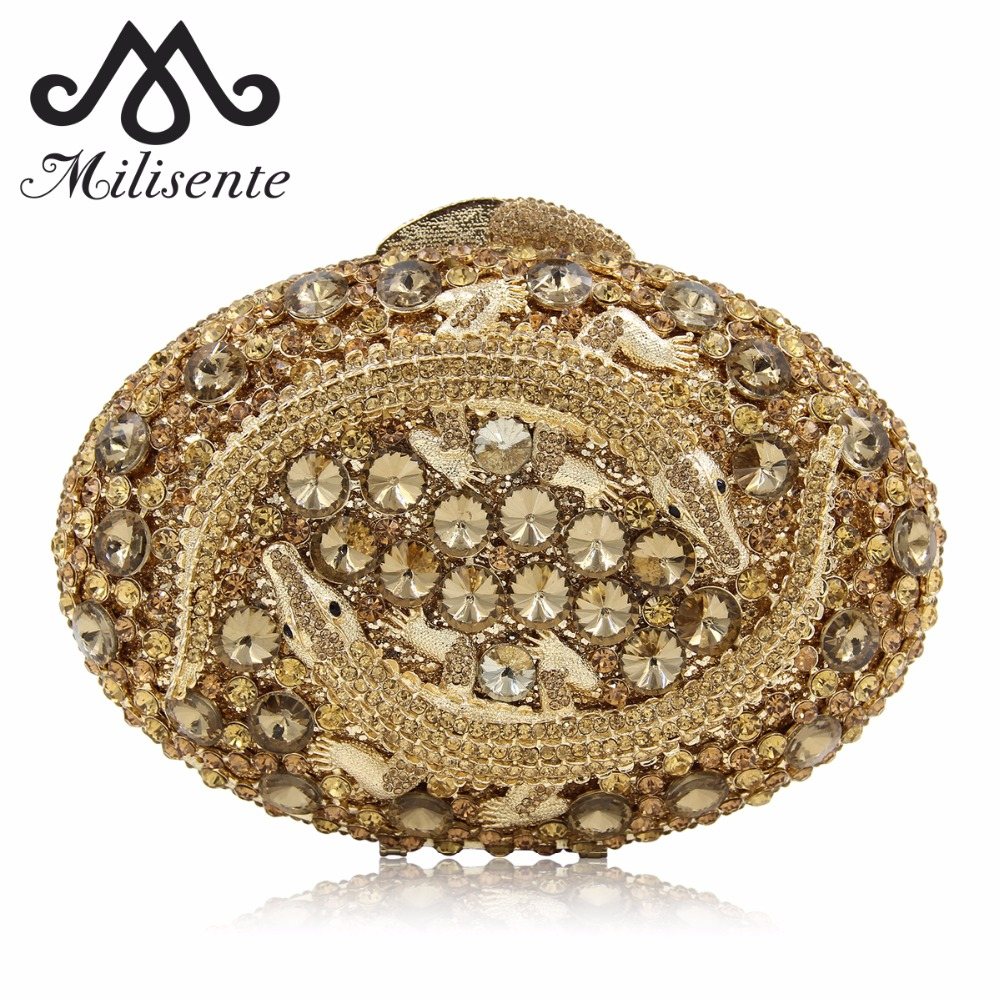 Milisente Women Luxury Crystal Clutches Evening Bags Two Crocodile Clutch Bag Hollow Out Party Purses Dark Gold milisente high quality luxury crystal evening bag women wedding purses lady party clutch handbag green blue gold white