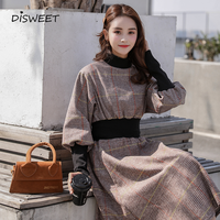 2019 Korean Version of The Autumn and Winter Long Plaid Dress Vintage High Neck High Waist Slim Long Sleeves Fashion A word Robe
