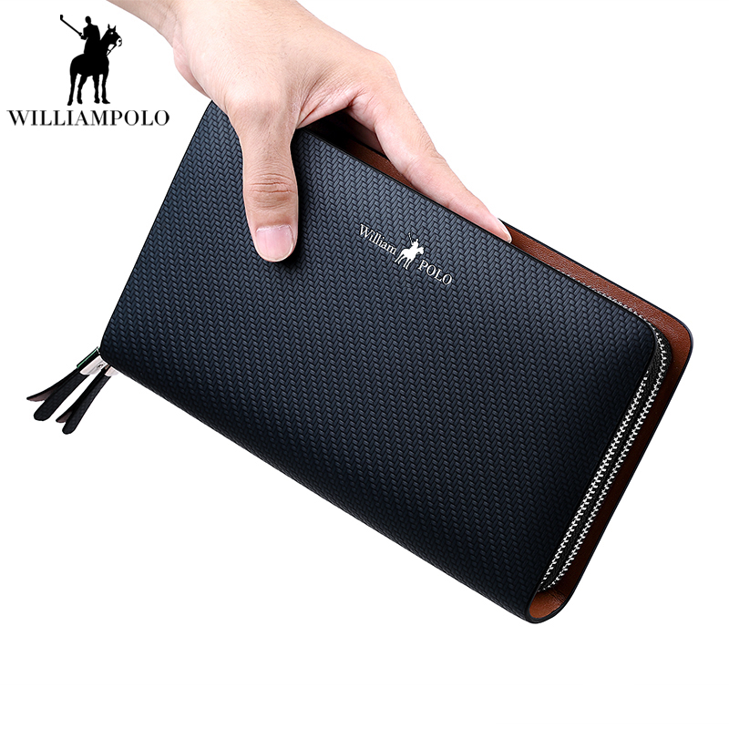 France Famous Brand Double Zipper Genuine Leather Wallet For Men Clutch Wallets Card Holder Purse Men's Wallet Bags Male Handbag 2016 famous brand new men business brown black clutch wallets bags male real leather high capacity long wallet purses handy bags