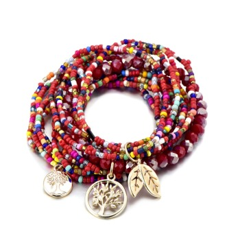 Bohemian Style Life of Tree Leave Charm Beads Bracelets For Women 3