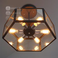Industrial Loft Edison Fan Retro Glass Box Ceiling Light Iron Lamp Cafe Bar Dining Room Club Coffee Shop Restaurant Store