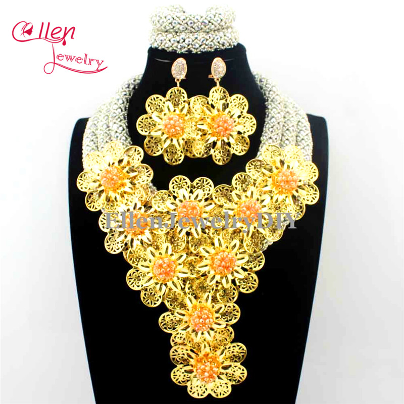 2017 Luxury African beads jewelry sets india nigerian flower beads beaded wedding bridal necklace dubai jewelry sets E1150
