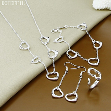 925 Sterling Silver Heart Charm Necklaces Bracelet Earrings Ring Five Heart Necklaces Earrings Ring Fine Jewelry цена 2017